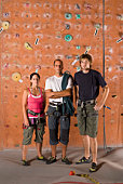 Portrait of climbers at wall