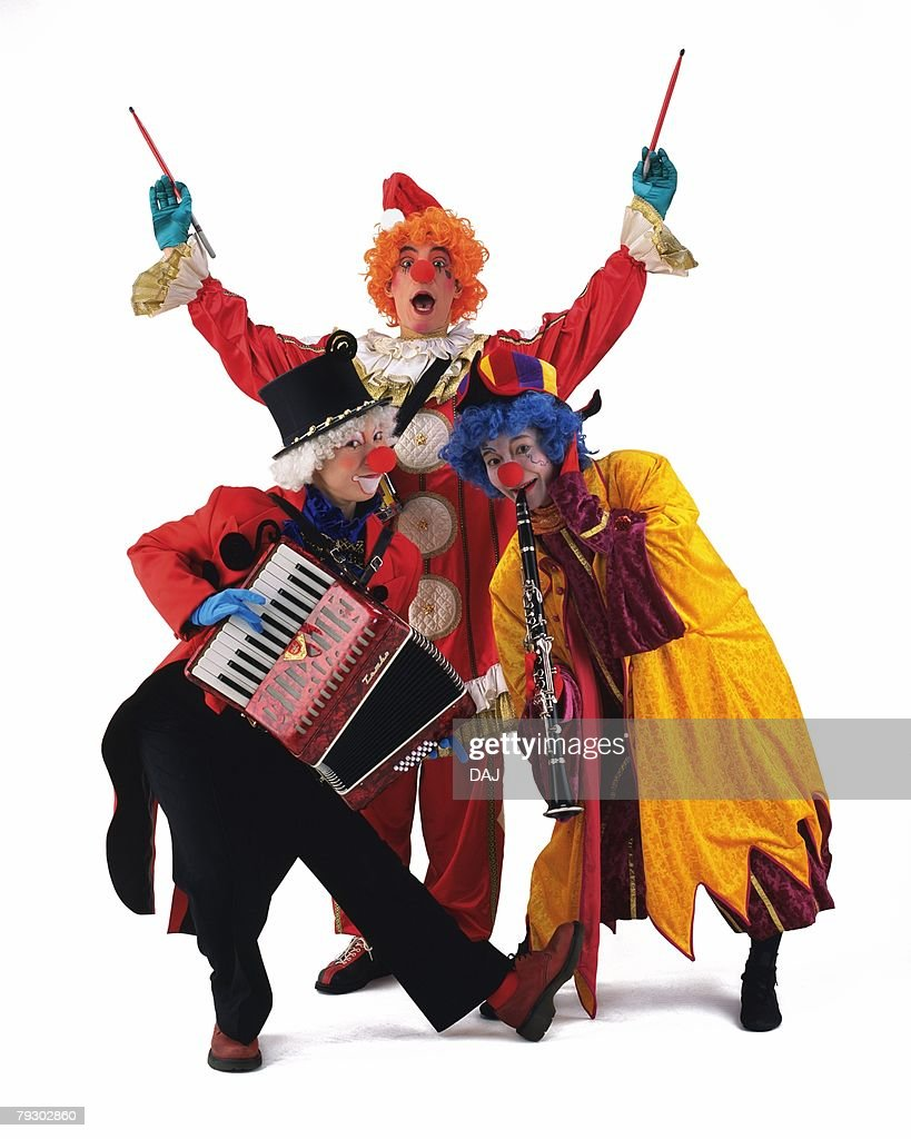 Portrait of Clowns Plying Clarinet, Accordion, Front View