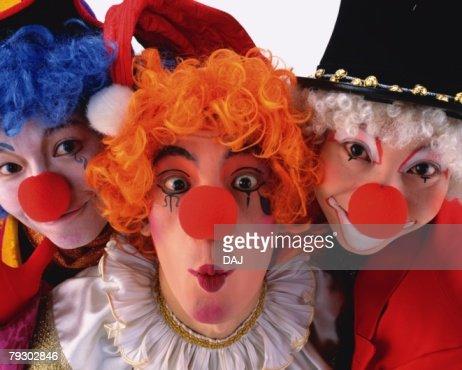 Portrait of Clowns Posing, Front View, Close Up