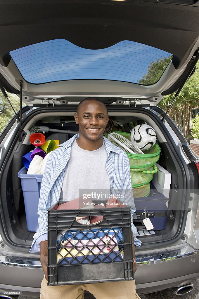 Portrait of College Student on first day of school : Stock Photo