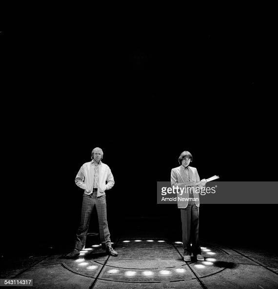 Portrait of composers and lyricists Tim Rice left and Andrew Lloyd Webber at the Prince Edward Theatre London England June 13 1978