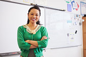 Portrait of confident Asian female teacher in classroom