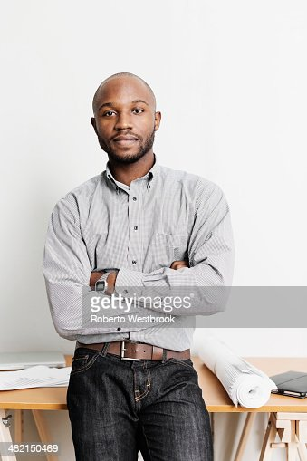 Portrait of confident Black architect in office