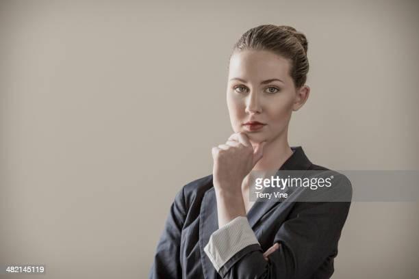Portrait of confident Caucasian businesswoman