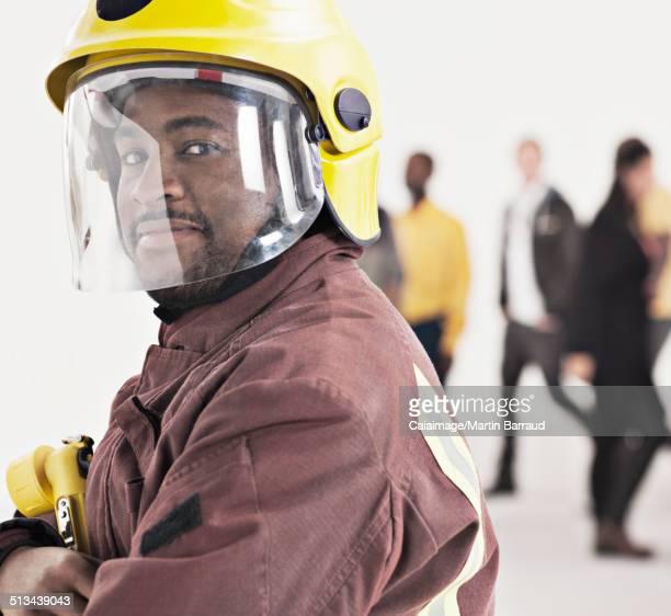 Portrait of confident fireman