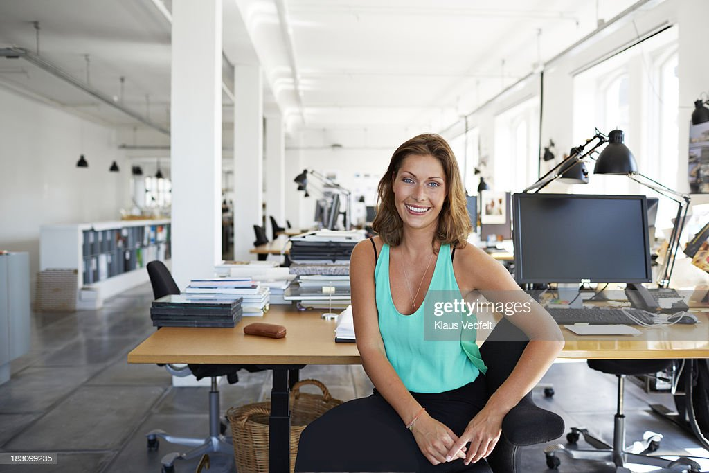 Portrait of cool businesswoman at design agency : Stock Photo