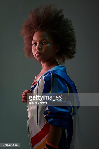 Portrait of cool young girl wearing sports clothes