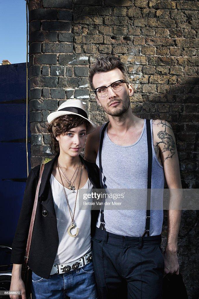 portrait of couple in urban environment. : Stock Photo