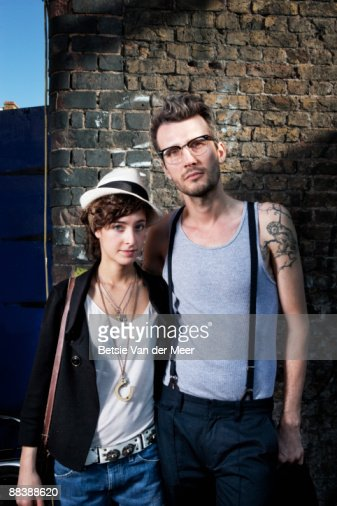 portrait of couple in urban environment. : Stock Photo