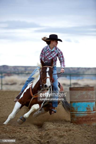 Portrait of Cowgirl Barrel Racing at Sunset