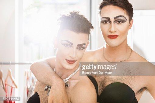 Portrait of  cross dressers couple.