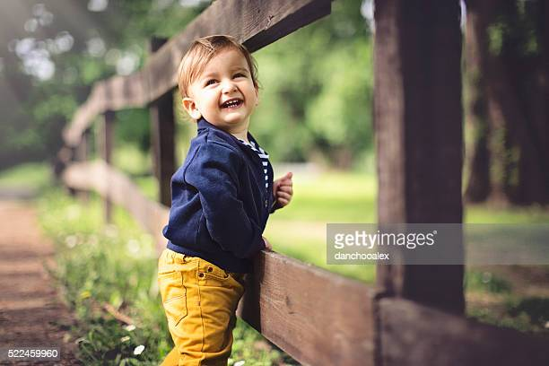 Portrait of cute baby boy laughing