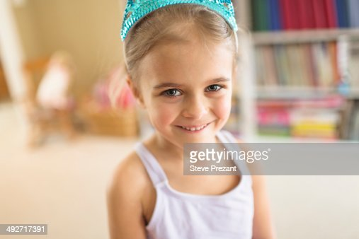 Portrait of cute young girl in princess crown