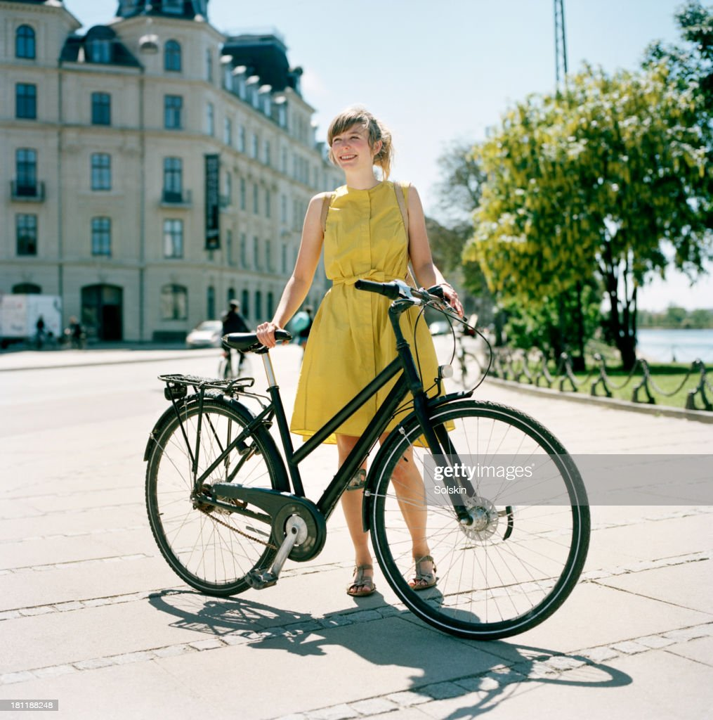 portrait of cyclist in city area