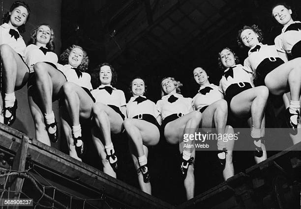 Portrait of dance troupe the 'Tiller Girls' during rehearsals for the pantomime 'Red Riding Hood' at the Royal Opera House Covent Garden London...