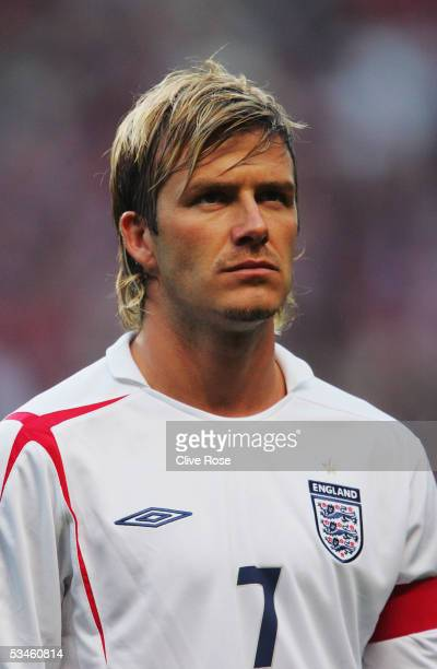 A portrait of David Beckham of England prior to the International friendly match between Denmark and England at The Parken Stadium on August 17 2005...