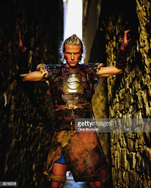 A portrait of David Beckham taken during the making of the Pepsi football commercial 'Pepsi Foot Battle' held on July 4 2003 in Madrid Spain