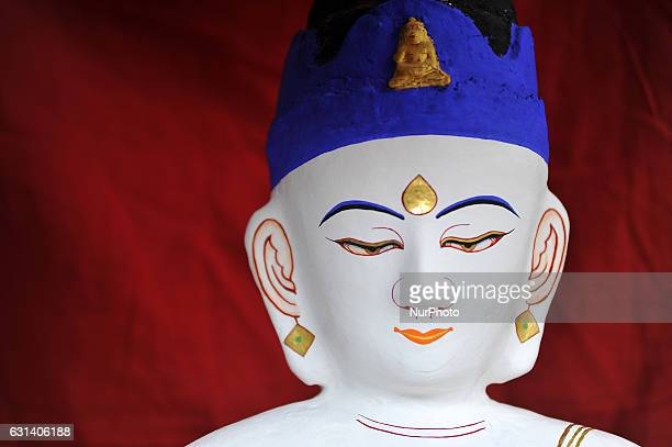 A Portrait of decorated idol Seto Machhendranath at Jan Bahal Kathmandu Nepal on Tuesday January 2017 Seto Machhendranath is known as the god of rain...