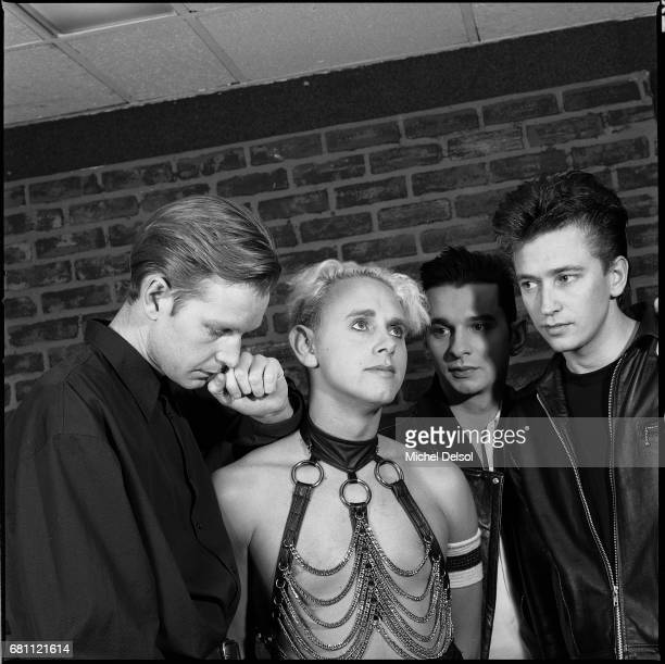 Portrait of Depeche Mode English synthpop band from left to right Andy Fletcher Martin Gore David Gahan and Alan Wilder Backstage at Madison Square...