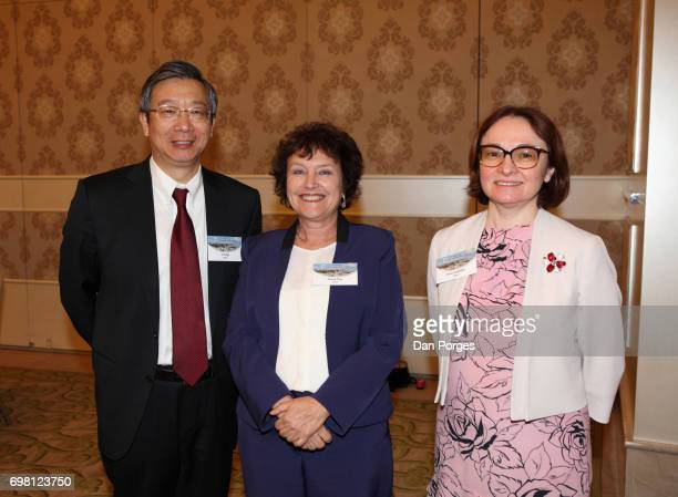 Portrait of Deputy Governor of the People's Bank of China Yi Gang Governor of the Bank of Israel Karnit Flug and head of the Central Bank of Russia...