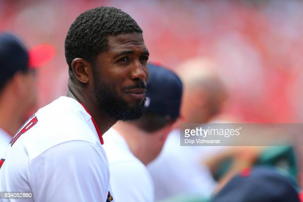 Portrait of Dexter Fowler of the St Louis Cardinals during a game against the San Francisco Giants at Busch Stadium on May 21 2017 in St Louis...