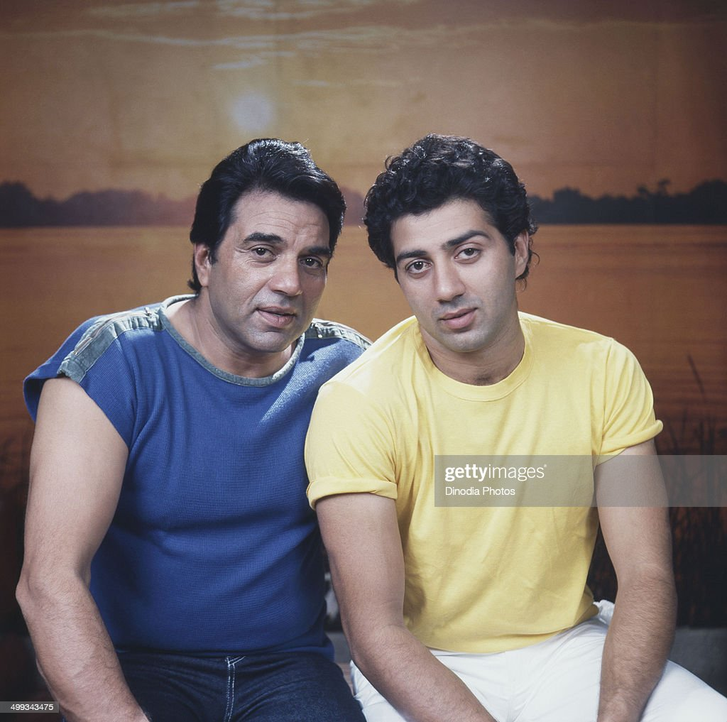 1983, Portrait of Dharmendra and <a gi-track='captionPersonalityLinkClicked' href=/galleries/search?phrase=Sunny+Deol&family=editorial&specificpeople=881473 ng-click='$event.stopPropagation()'>Sunny Deol</a>.