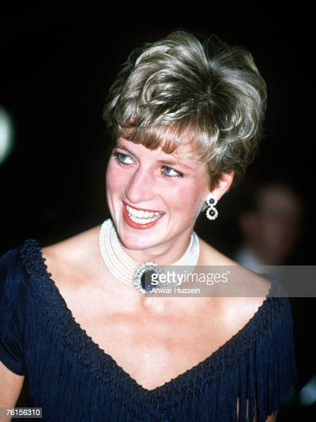 Portrait of Diana Princess of Wales wearing her sapphire choker and earrings at a concert at Royal Albert Hall on July 8 1991 in London England