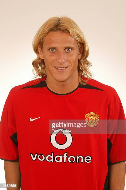 A portrait of Diego Forlan during the Manchester United official photocall at Old Trafford on August 11 2003 in Manchester England