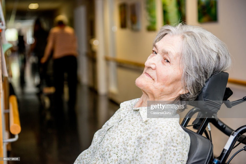Portrait Of Disabled Senior Woman : Stock Photo