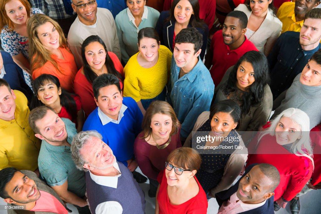 Portrait of diverse crowd : Stock Photo