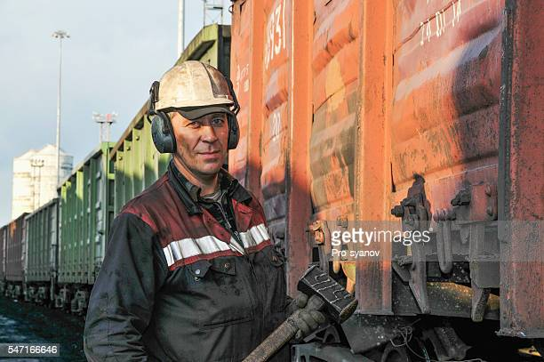 Portrait of docker  at the coal termina