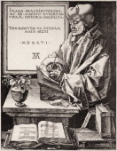 Portrait of Dutch humanist and scholar Desiderius Erasmus as he writes at a desk