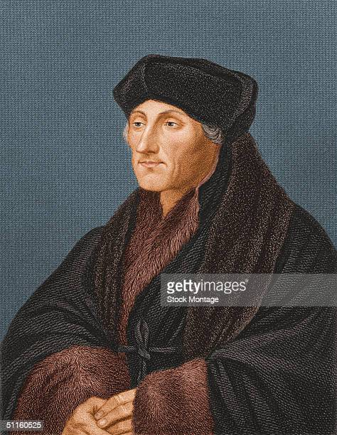 Portrait of Dutch humanist scholar teacher and author Erasmus Desiderius as he clasps his hands and wears a furlined cloak and hat 1523