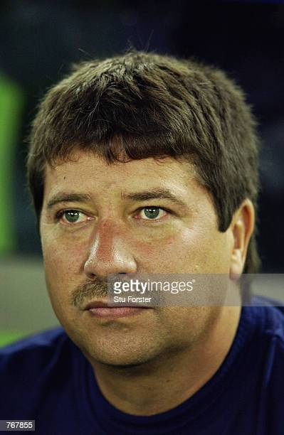 Portrait of Ecuador coach Hernan Dario Gomez during the FIFA World Cup Finals 2002 Group G match between Croatia and Ecuador played at the...