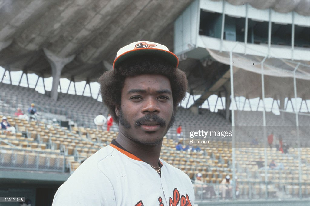 Portrait of Eddie Murray, first baseman for the Baltimore Orioles.