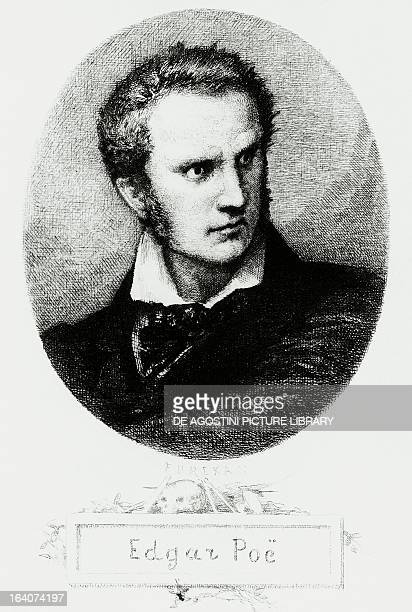 Portrait of Edgar Allan Poe American writer and poet inventor of the detective story and psychological thriller Engraving