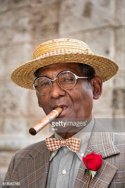 Portrait of elderly gentleman with cigar, Havana, Cuba