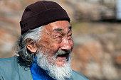 Portrait of elderly Inuit man from Uummannaq NorthGreenland Greenland