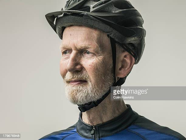 portrait of elderly male cyclist
