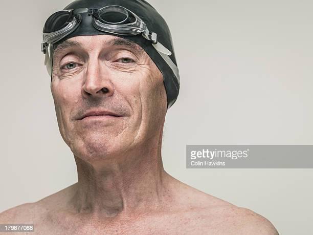 Portrait of elderly male swimmer