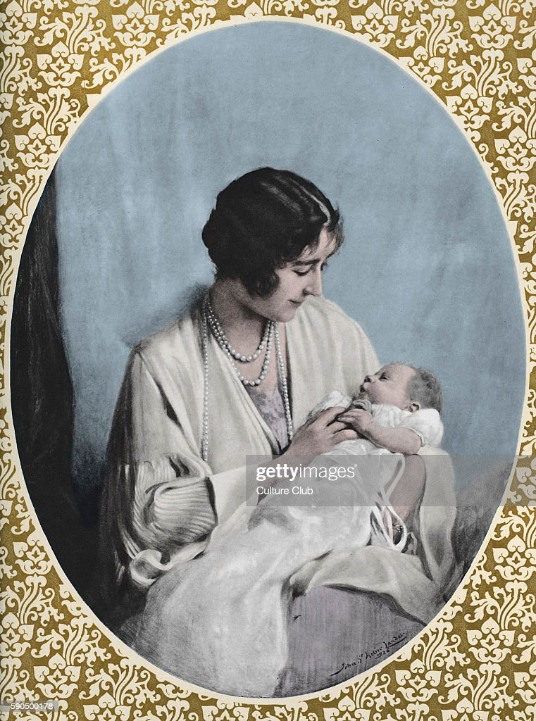 Portrait of Elizabeth II as a baby held by her mother Elizabeth After the painting by John Helier Lander