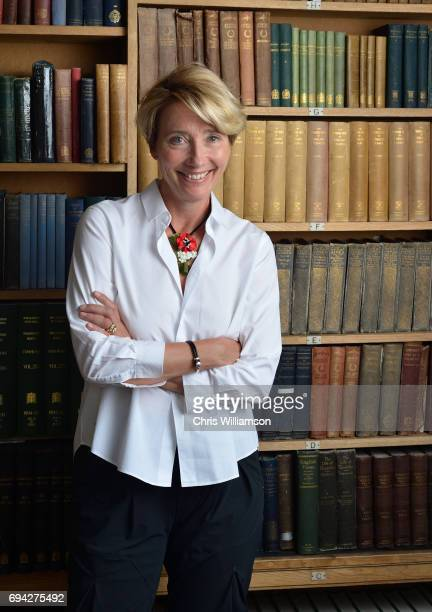 Portrait of Emma Thompson speaking at The Cambridge Union on June 9 2017 in Cambridge Cambridgeshire