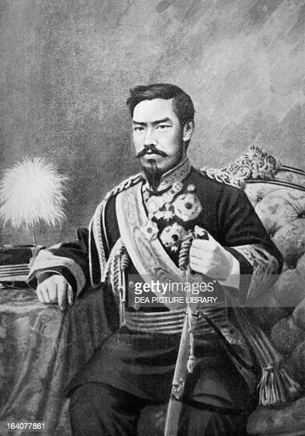 Portrait of Emperor Meiji honorary name of Mutsuhito Emperor of Japan from 1867 to 1912 engraving Japan 19th century
