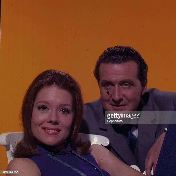1967 Portrait of English actress Diana Rigg and English actor Patrick Macnee in their roles as 'Emma Peel' and 'John Steed' in the television series...