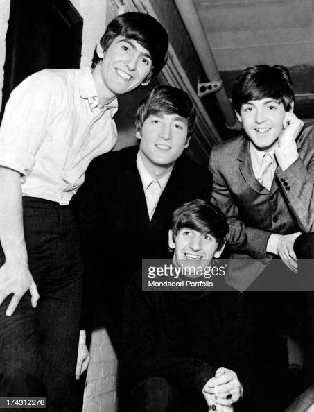 Portrait of English band The Beatles the singers and musicians John Lennon Paul McCartney George Harrison and Ringo Starr 1960s