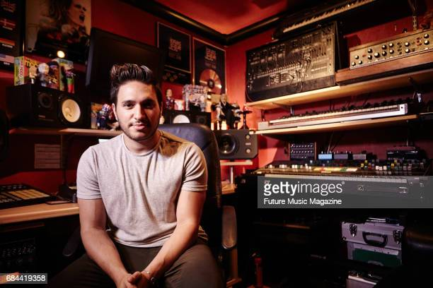 Portrait of English musician and DJ Guy James Robin better known by his stage name Jonas Blue photographed at his home studio in Ilford England on...