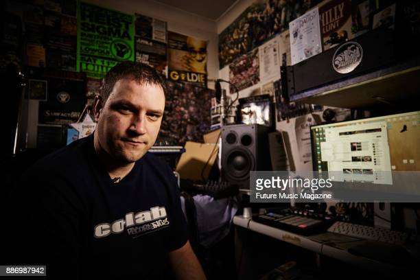 Portrait of English musician DJ and producer Jim Muir better known by his stage name Heist photographed at his home studio in London on February 22...
