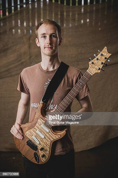 Portrait of English musician Rob O'Murphy guitarist with progressive rock group Eschar photographed backstage at ArcTanGent Festival in Somerset on...