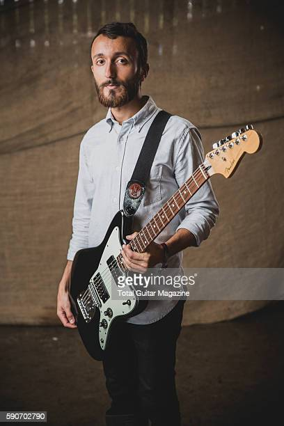 Portrait of English musician Robin Southby guitarist with postrock group Maybeshewill photographed backstage at ArcTanGent Festival in Somerset on...