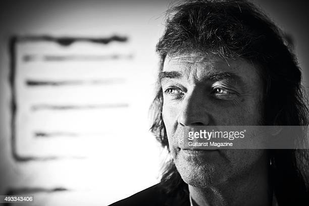 Portrait of English musician Steve Hackett best known as a guitarist with progressive rock group Genesis photographed in London to promote his 2015...